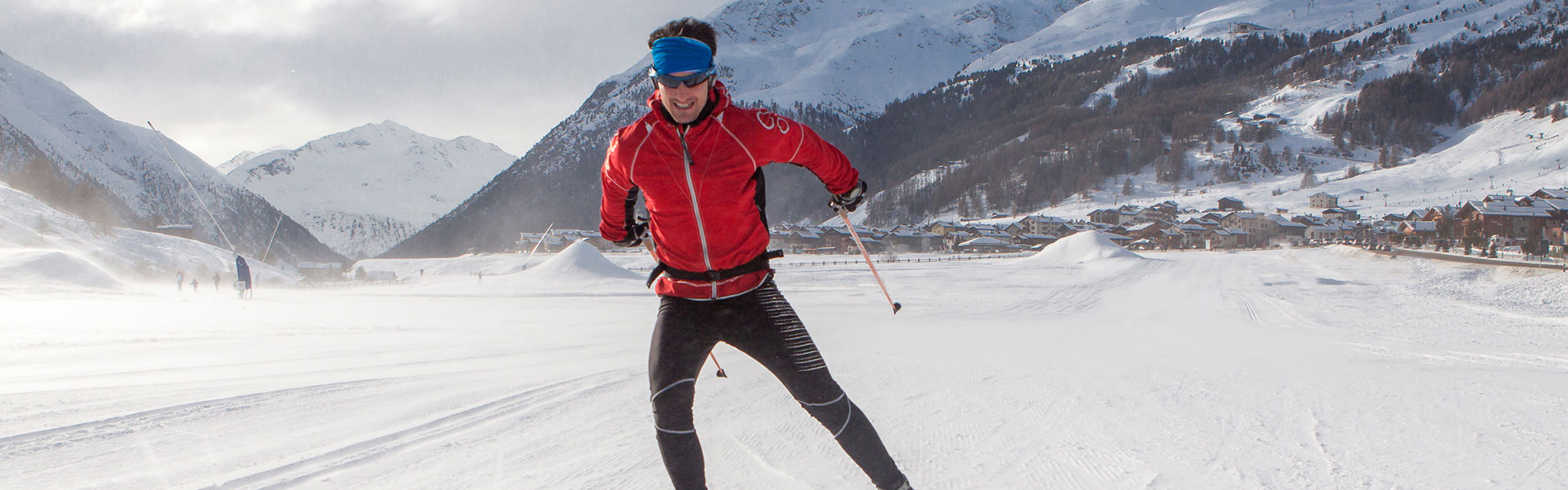 Man cross country skiing.